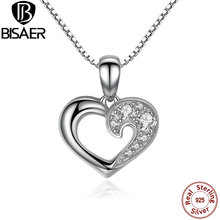 100% 925 Sterling Silver Clear CZ Heart  Love Pendant Necklace High Quality Jewelry Chain Necklace Collares For Women Gift