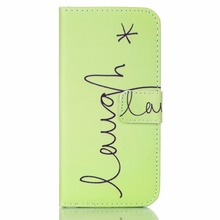 Green letters Patterns Faux Leather Flip Case with Stand for iPhone 6 6S 4.7(China)