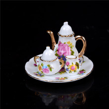 8Pcs 1:12 Kitchen Strawberry Printing Mini Cute Coffee Tea Set Porcelain Dish Pot Tray Cups Teapot Dollhouse Miniature(China)