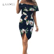 Buy Laamei New Bohemian Style Dress Women Shoulder Beach Summer Dresses Floral Print Vintage Irregular White Sexy Dress Vestidos for $14.34 in AliExpress store