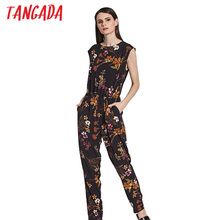 Tangada Floral Print Jumpsuit Sleeveless Women Romper Fashion Lady Playsuit 2017 Long Jumpsuits Overalls Summer Beach Jumpsuits(China)