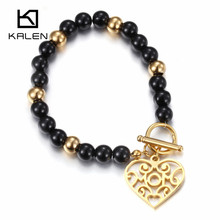 Kalen Beautiful Costume Pakistani Gold Color Heart Charm Bracelet For Kids Girl Black Plastic Beads Bracelet Made In China 2017