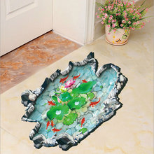 1X kawaii 3D Stereoscopic Lotus pond fish ground bathroom Stickers Background Wall Swimming pool Home Decor Vinyl Wall Sticker