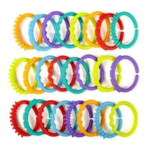 Niosung New 24pcs/lot Rainbow ring connected with the hand ring ring baby car hanging bed hanging card Teether toy