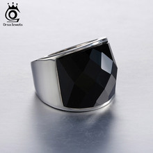 ORSA JEWELS 2017 Big Size Black/Purple Nature Stone Silver Color Ring 316L Stainless Steel Ring for Men Women Jewels Gift OTR06
