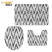 HUGSIDEA 3D Solid Color 3PCS Set Non-slip Floor Carpet Area Rugs Home Decor Warm Lid Pads for WC Toilet Bathroom Modern Mats