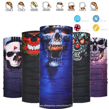 Skull Cigar Face Shield Multifunction Bandana UPF 40 Summer Sunscreen Balaclava Magic Scarf Bicycle Mask Hip-hop Headband(China)