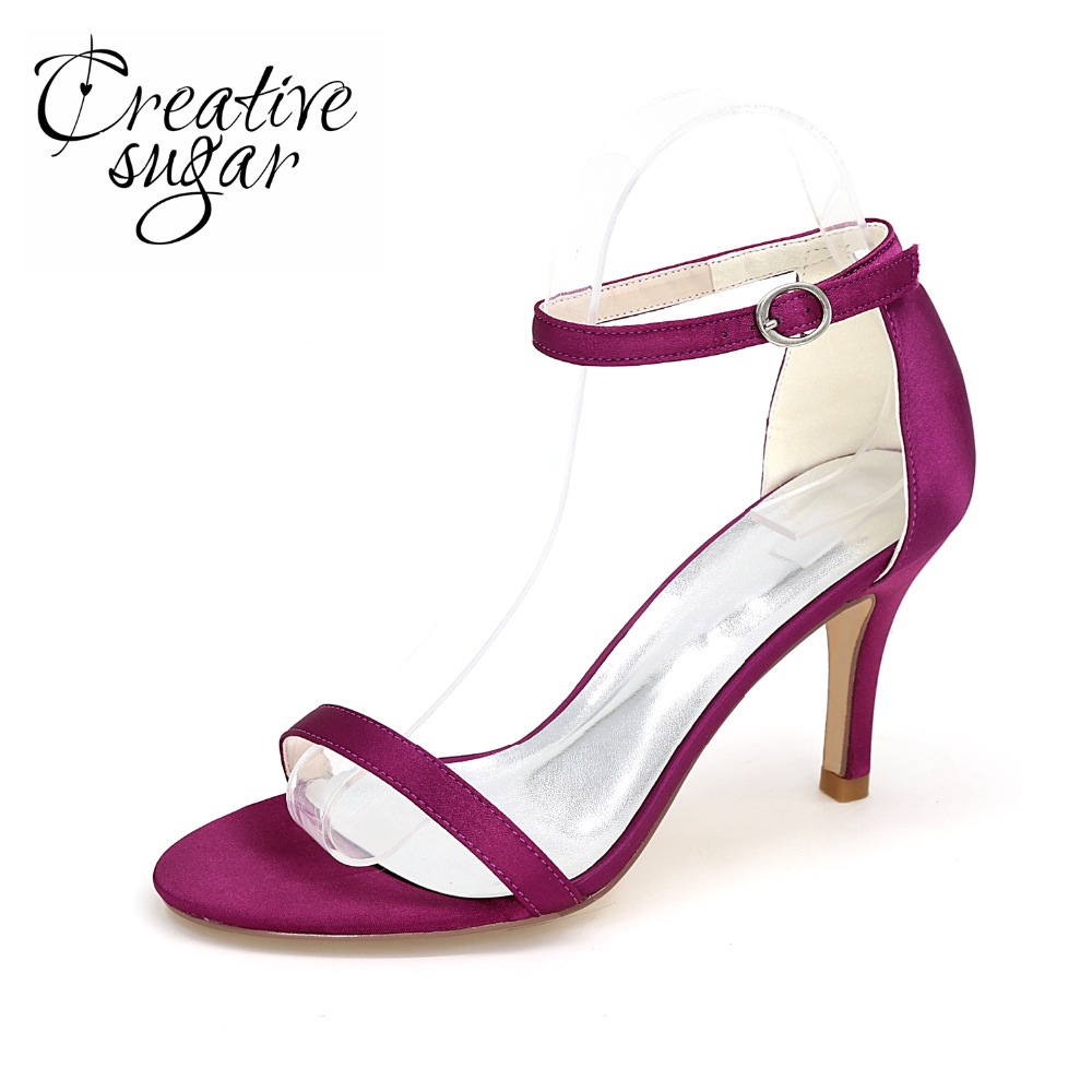 Creativesugar Concise thin band satin evening dress shoes fashion show red carpet  high heels lady pumps purple red silver white<br>