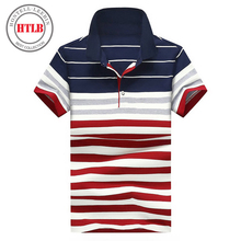 Famous Brand HTLB New Men Business Horse Ralphmen Polo Shirts Summer Luxury Breathable Camisa Masculina Male Striped Polo Shirt(China)