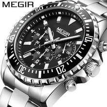 Buy MEGIR Chronograph Mens Watches Top Luxury Brand Clocks Military Army Sport Clock Steel Strap Quartz Date Men Male Watch Box 2064 for $25.90 in AliExpress store