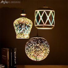 JW_Modern Loft Creative Personality Iron3D Pendant Lamp Reflective Mirror Plating Fireworks Pendant Light Home Lighting Fixtures(China)
