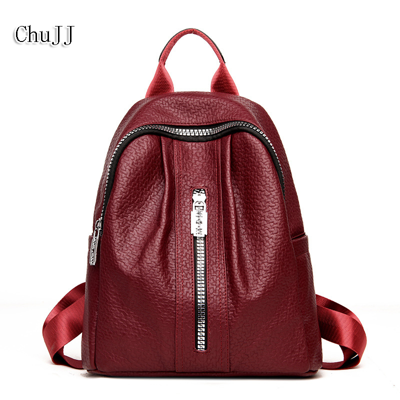 Chu JJ Multifunctional Womens Leather Backpacks Girls Students School Bag Genuine Leather Shoulder Bags Women Travel Ladies Bag<br>