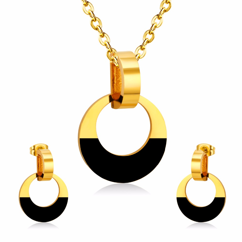 LUXUSTEEL Bridal Jewelry Sets For Women Stainless Steel Hollow Out Round Pendants With Charm Crystals Fashion Necklace Earring