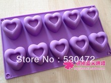 Wholesale,free shipping ,10 hole love heart shape silicone Chocolate Mold mould baking tool(China)