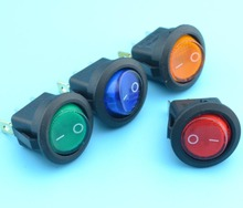 20pcs On/Off Red Orange Blue Green illuminuted Round Rocker Switch with lamp 220V