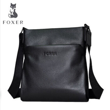 Famous Brands Foxer Genuine Cow Leather men's Business Shoulder Bag Casual Crossbody Bags For men(China)