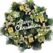 2018 Christmas Large Wreath Door Wall Ornament Garland Decoration Red Bowknot Tree Hanging Ornament Handicrafts Wall Handing(China)