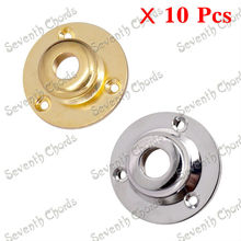 10 Pcs 2 Colours Round Metal Guitar Jack Plates JackPlate Cover Cap / Internal Thread:9mm