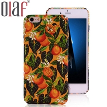 Olaf Water sticks Phone Case For iphone 7 6 6S Plus Cartoon Oil Painting Back Cover  Fruit Orange Capa Cute Plants Leaf cases