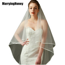 2017 New Arrival Ivory White Bridal Veil Ribbon Edge Tulle Veil For Bride One Layers Satin Ribbon Hem Wedding Veil Long Cheap