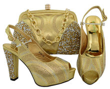 Newest Gold Color Italian Shoes with Matching Bags Shoes and Handbag  African Set 2018 African Women s Sets Italian Shoes M006 88ed1467fb68