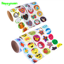 Happyxuan 2 rolls(200 stickers) Cute Cartoon Paper Stickers Rolls Kids Wild Animals Smiley face Love Star Christmas Birthday(China)