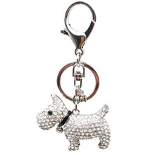 Beadztalk Crystal Rhinestone Keyring Key Holder Purse Bag Keychains Puppy Scottish Dog Gift Gold and Silver Color(China)