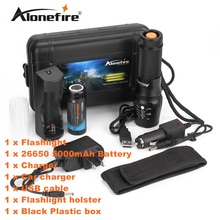 ALONEFIRE X800 CREE XML-T6 LED 4000LM Outdoor High power Zoomable tactical Flashlight torch+26650 Rechargeable batteries charger(China)