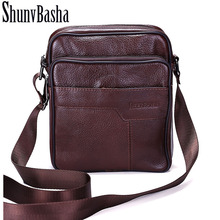 ShunvBasha Business Men Genuine Leather Bag Natural Cowskin Men Messenger Bags Vintage Men's Cowhide Shoulder Crossbody Bag ZP06(China)