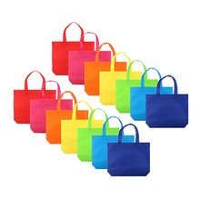 14 pcs/ set Gift Tote Bags DIY Party Favor Non-woven Blank Bags 7 Assorted Bright Color with Handle Shopping Bags DIY Gift Bags(China)