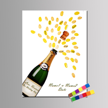 Fingerprint Guest Book Personalize Champagne Celebrating Wedding Baby Shower Thumbprint Guest Book Birthday Party Keepsake Ink(China)