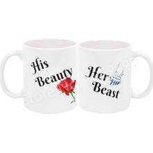 Funny Beauty and the Beast Coffee Mug Set Novelty His Her Couple Matching Mugs Cups Letter Valentine Engagement Wedding Gifts(China)