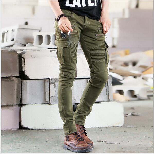 New Men France Fashion Runway Black Army Green Cargo Waxed Biker elastic pencil pants washed Jean Skinny Khaki Mens zipper jeansОдежда и ак�е��уары<br><br><br>Aliexpress