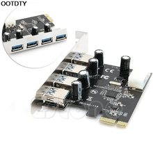4 Port PCI-E to USB 3.0 HUB PCI Express Expansion Card Adapter 5 Gbps Speed For Desktop Computer Components Brand New