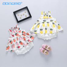 new arrive suit for girls two piece female baby ummer clothes 1-2-3 year old children clothes YB181