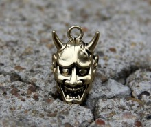 Solid Brass Evil Oni Noh Hannya Mask Pendant Keychain Wallet Connector DIY Free shipping(China)
