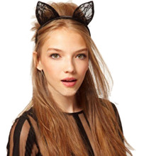 Top sale!Cat Ears women girl Headband Animal Halloween Party Fancy Dress Costume Accessory hair bands for women tiara #48(China)