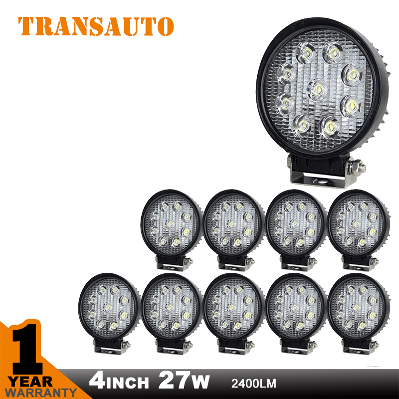 10 PCS 4 Inch 27W  LED Work Light 12V IP67 Flood Beam For 4x4 Offroad Truck  Saved On 36W/50W, LED Driving Light Ccar Light<br><br>Aliexpress