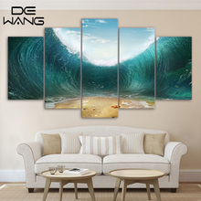 5 Piece Canvas Printed Decoration Wall Art Special Ocean Waves Picture Posters Prints Canvas Painting Wall Decorations Bed Room