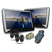 "2*10.1"" Portable Car Headrest DVD Player 1024*600 HDMI Port HD Screen Game Auto PC Audio Touch Button Monitor USB SD IR FM Media(China)"