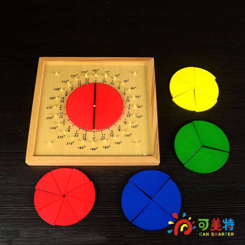Montessori Education Circle Fraction Board  Beech Wood Math Toys Early educational toys  Can Smarter Free Shipping<br><br>Aliexpress