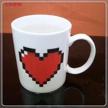1Pcs Creative Heart Magic Temperature Changing Cup Color Changing Mugs Heat Sensitive Cup Coffee Milk Mug Novelty Gifts 5ZDZ342(China)