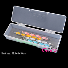 Nail Art Accessory Clamshell closure milk white Nail Salon Brushes pen dotting tools storage nail art tool box