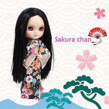 230BL9601 sakura chan icy doll black long hair centra parting with kimono and joint body, gifts slipper, handsets, stand, box(China)