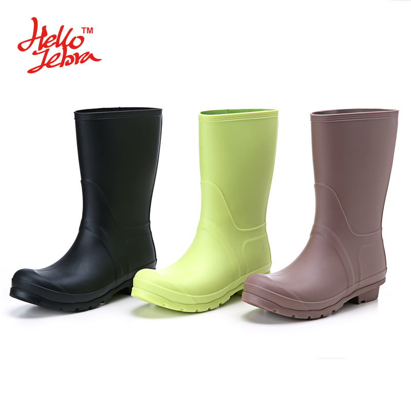 2016 New Womens Tall Rain Boots Girls Fashion Water Shoes Summer Low Heels Waterproof Welly Boots High Style Brand Rainboots<br>