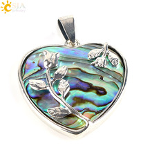 CSJA New Zealand Natural Paua Abalone Shell Love Heart Flower Pendants for Necklaces Handmade Lady Jewelry Findings Making E338
