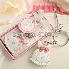 180pcs/Lot+Baby Shower Favors and Gift Cute Baby Girl Dress Design Pink Key Chain Infant Baptism Souvenir Gift+FREE SHIPPING