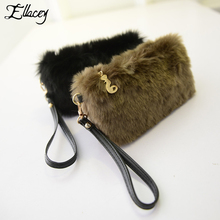Ellacey Winter Women Casual Clutch Bags Faux Fur Small Handbags Socialite Mini Tote Bag Hairy Day Clutches Lovely Furry Purse