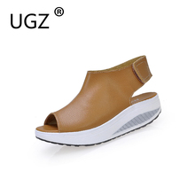 Pure Color Summer Sandals 2017 Outdoor Platform Shoes For Women 35-40 Plus Size Peep Toe Shoes Genuine Leather Footwear(China)