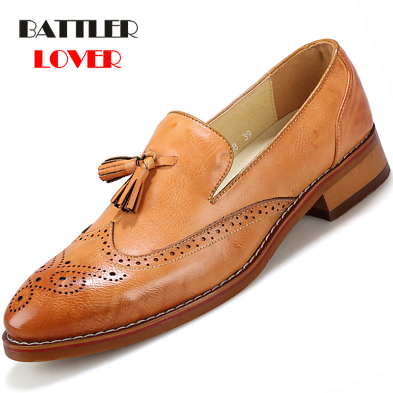 Brogue Shoes Men High Quality Tassel British Style Carved Split Leather Shoes Lace Up Business Office Oxford Footwear Mens Shoes